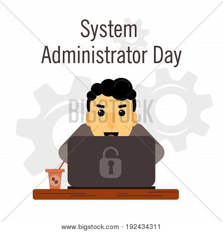 Day of the system administrator. Cartoon, funny picture man curly hair system administrator. Stock vector.