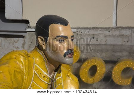 SAINT-PETERSBURG, RUSSIA - MAY 06, 2017: Freddie Mercury figure at the entrance to the rock cafe