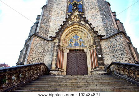 Portal and stairs of the Neo-Gothic church landmarks