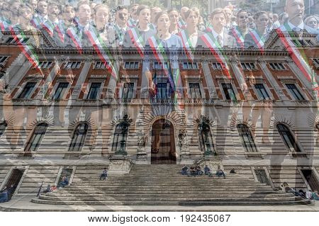 ROME ITALY - JUNE 1 2017: Double exposure with Palazzo Montecitorio building of the italien Parliament and administrative staff at the national day parade of Italy.