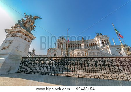ROME ITALY - MAY 31 2017: The Monument Nazional a Vittorio Emanuele II built in honour of first king of a unified Italy.