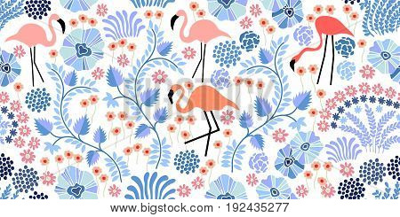 Seamless vector pattern with flamingo and exotic plants and flowers on white background. Japanese, Chinese, Korean motifs. Oriental textile collection.