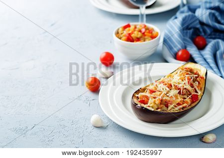 Red Bell pepper tomato carrots stuffed eggplant
