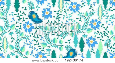 Seamless vector pattern with leaves and flowers. Blue and turquoise floral elements on white background. Ethnic textile collection.