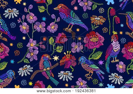 Vintage embroidery with birds, chamomiles, poppies and tulips on dark blue background. Folk art textile collection.