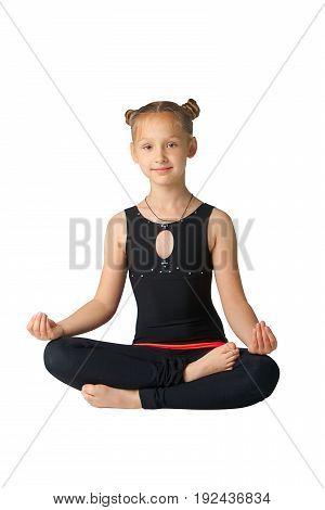 Beautiful Woman Doing Yoguna White Background