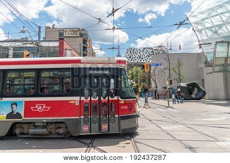 Toronto Canada - 2 July 2016: Toronto streetcar system is operated by Toronto Transit Commission (TTC).