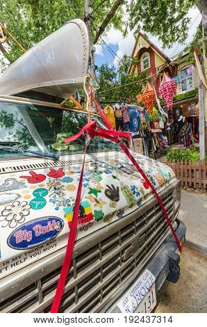 Toronto Canada - 2 July 2016: Colorful truck on Kensington Avenue in the Kensington market District in Toronto Canada.