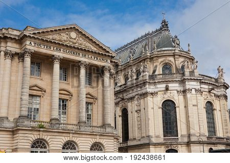 The main facade of Palace of Versailles in France