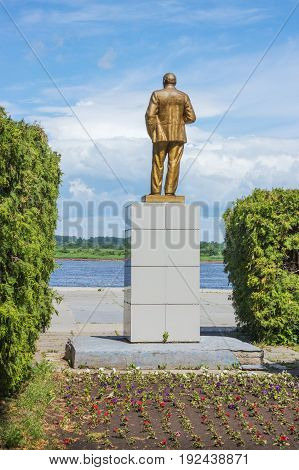 Balakhna Russia - June 18 2017: In Russia there are a lot of monuments to the leader of revolution. Lenin monument on the banks of the Volga Balakhna