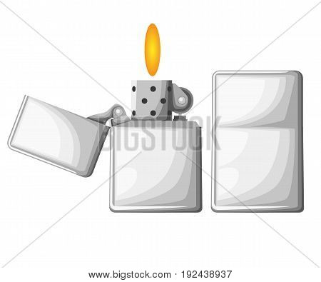 Lighter Cigarette Lighter Set. Realistic Style. Web Site Page And Mobile App Design Vector Element