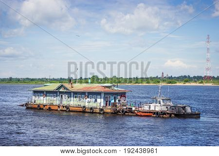Balakhna Russia - June 18 2017 from the banks of the Volga river near the city of Balakhna were shown a very old examination vessel. It still works