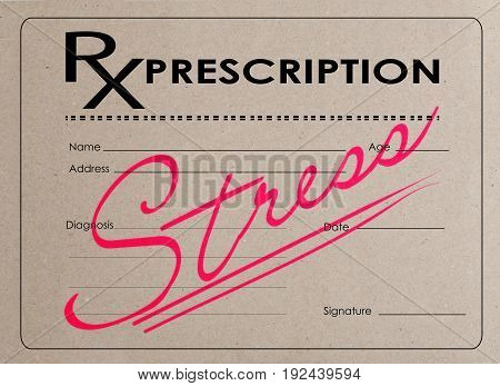 blank medical prescription with a large inscription in red ink STRESS