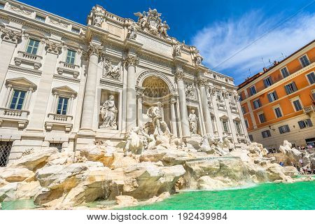 Neptune Statue And The Trevi Fountain In Rome, Italy