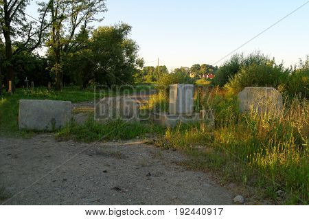 large concrete blocks on the country road