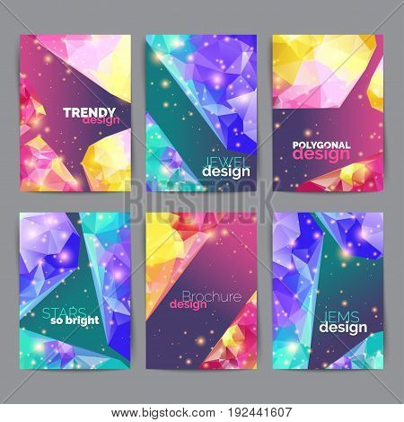 Abstract fashion posters, business card set. Geometric design of brochure title sheet. Annual report template. Vector illustration
