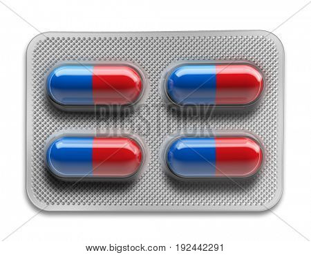 Red and blue pills in blister packaging isolated on white background. 3d rendering