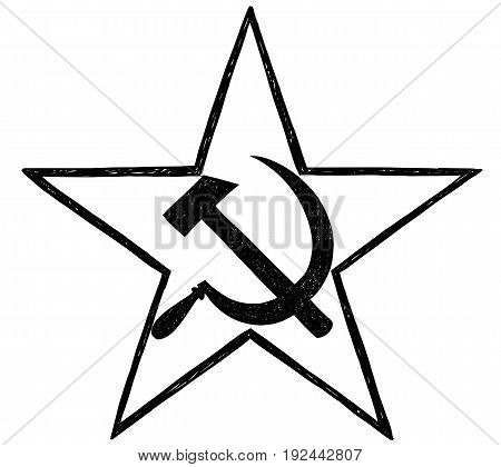 Hammer and sickle inside star- symbol of communism and Soviet Union