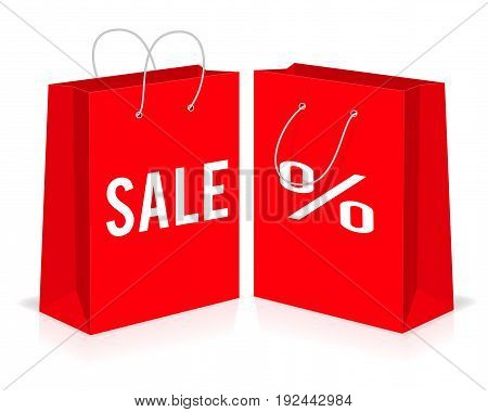 Red shopping paper empty bags with percent and sale signs. Vector illustration