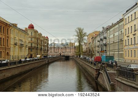 Spring day on the embankment of the Moika River in St. Petersburg