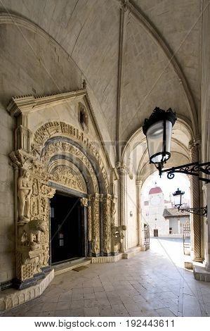 Radovan portal is the main portal of the cathedral of St Lawrence done by Radovan in 1240. Trogir Croatia