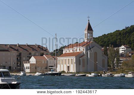 New church of St Peter Apostle on Priko in Omis in Croatia