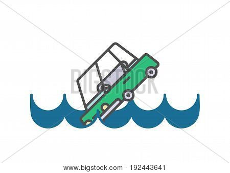 Flat line car insurance simple illustration on white background. Vector icon of automobile falling into water