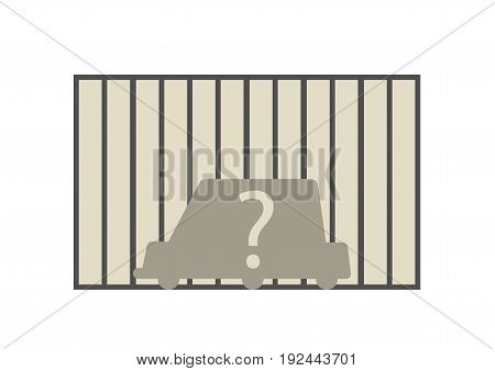 Flat line car insurance simple illustration. Trace of stolen vehicle in front of wall. Vector icon of automobile theft.