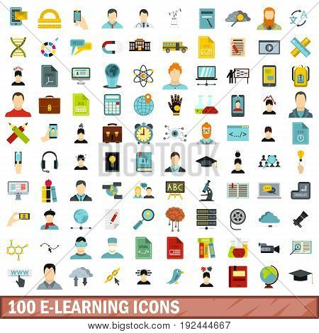 100 e-learning icons set in flat style for any design vector illustration