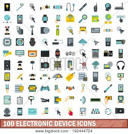 100 electronic device icons set in flat style for any design vector illustration