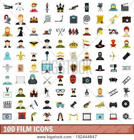 100 film icons set in flat style for any design vector illustration