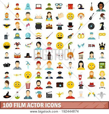 100 film actor icons set in flat style for any design vector illustration