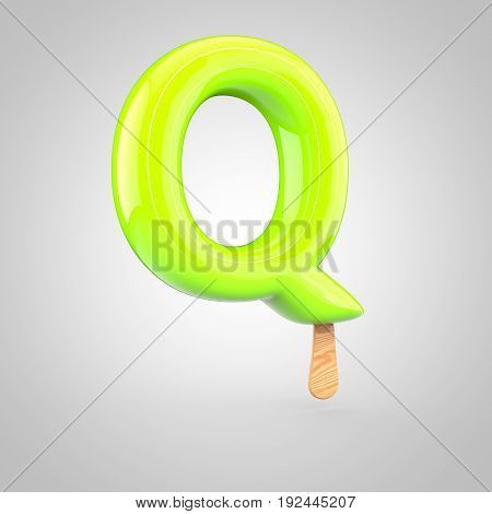 Ice Cream Letter Q Uppercase Isolated On White Background