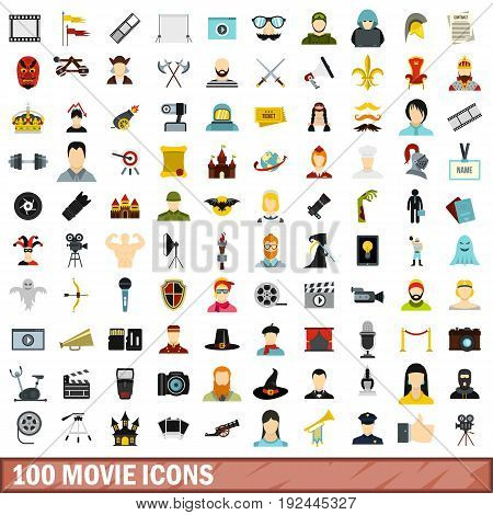 100 movie icons set in flat style for any design vector illustration