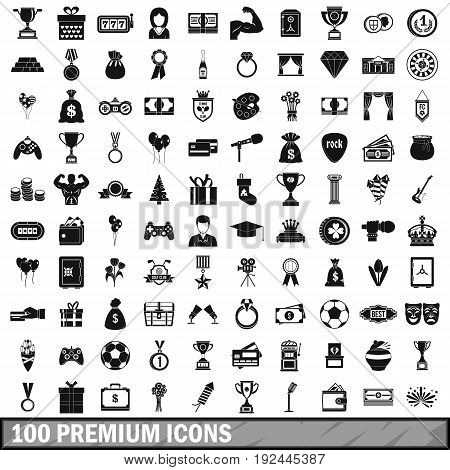 100 premium icons set in simple style for any design vector illustration