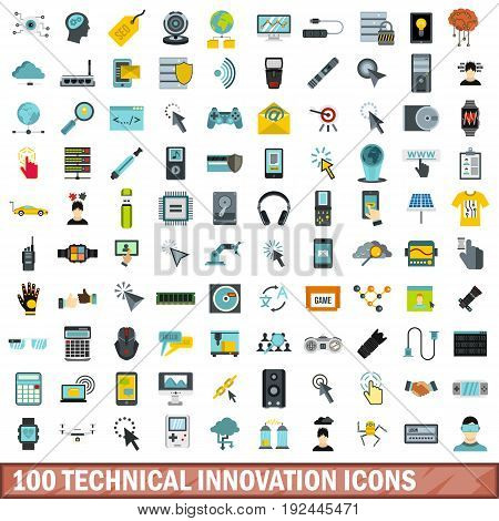 100 technical innovation icons set in flat style for any design vector illustration
