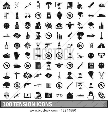100 tension icons set in simple style for any design vector illustration