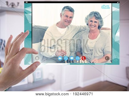 Digital composite of Hand touching Social Video Chat App Interface