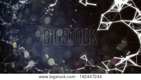 Digital composite of White network against black bokeh