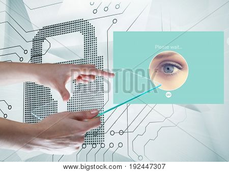 Digital composite of Hands holding glass screen and Identity Verify security App Interface