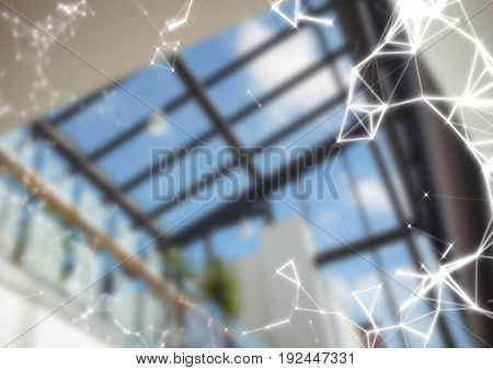 Digital composite of White network against blurry window