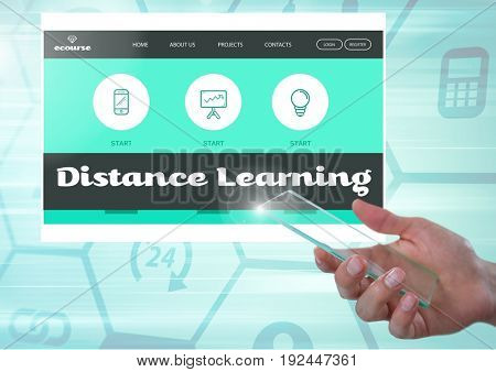 Digital composite of Hand with mobile phone touching a Distance Learning App Interface