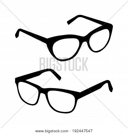 Glasses silhouette vector set. Collection of different glasses types.