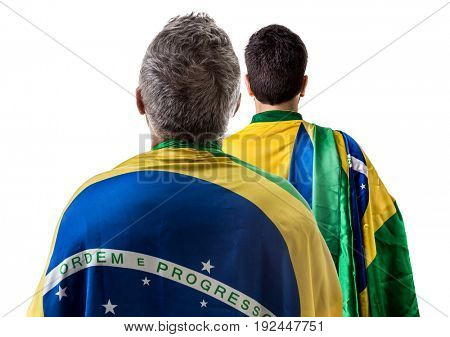 Brazilian couple holding the flag of Brazil