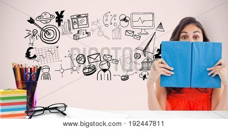 Digital composite of Female student hiding face with book against graphics