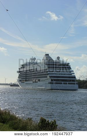 Velsen The Netherlands - June 16th 2017: Seven Seas Explorer - Regent Cruises on North Sea Channel towards North Sea