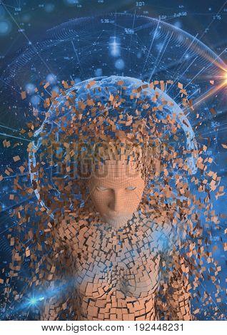 Digital composite of Digital composite image of scattered human figure