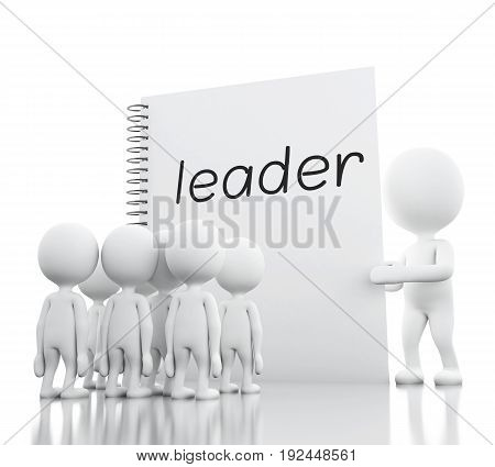 3D White People Leadership And Notepad With Leader.