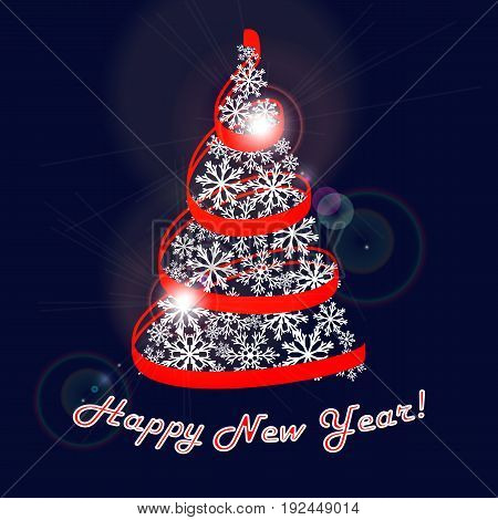 Happy new year greeting card. Fir Tree made of snowflakes with a red ribbon streamers on a dark blue background with highlights. Vector illustration