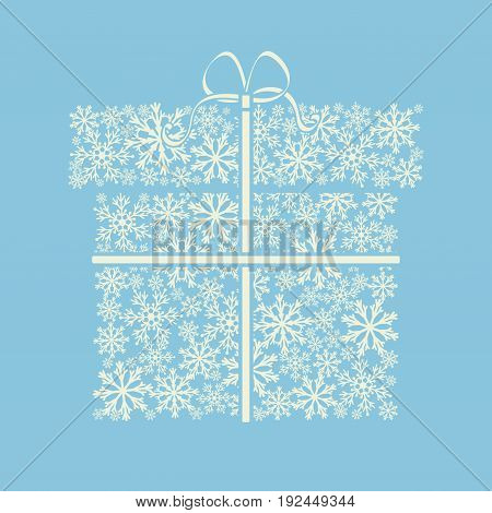 Gift box made from white snowflakes on blue. Winter background. It can be used for Boxing Day. Vector illustration